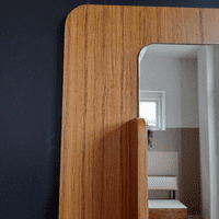 Large 1970s Wall Mirror with Shelf
